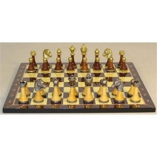 Staunton Metal and Natural Wood Chess Set with Alphanumeric Decoupage Board - Multicolored