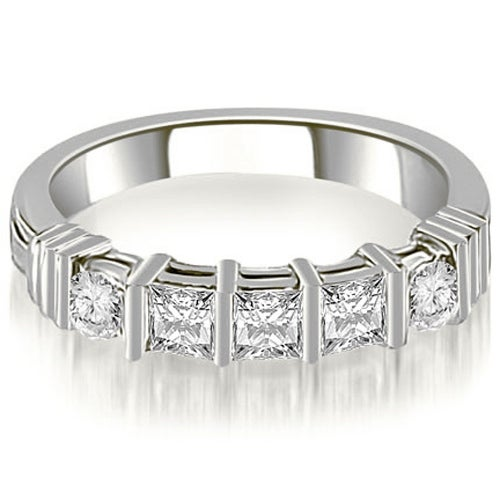 0.70 cttw. 14K White Gold Princess And Round Cut Diamond Wedding Band