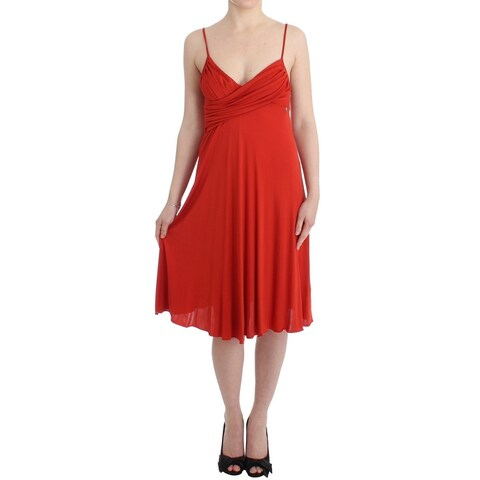 Galliano Galliano Red A-Line Coctail Dress