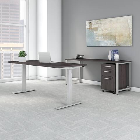 Bush 400 Series 72W x 30D Power Standing Desk, Credenza & Storage