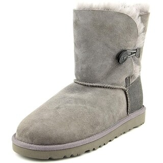 Ugg Australia Bailey Button Youth Round Toe Suede Gray Winter Boot