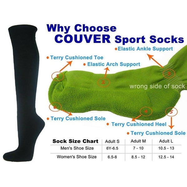 Black Couver Knee High Unisex Sports Athletic Baseball Softball Socks(3 Pairs)