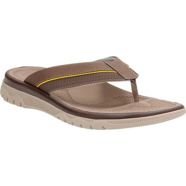 48e8e3b5e182f Shop Clarks Men s Balta Sun Flip Flop Dark Brown Synthetic - On Sale ...