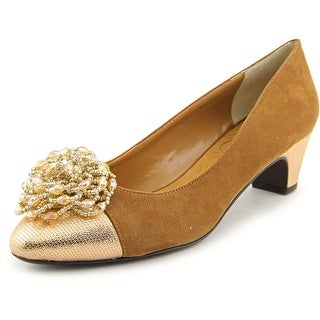 J. Renee Rashana Women  Round Toe Leather Gold Heels