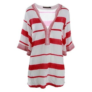 ViX Paula Hermanny Womens Desert Helen Striped Deep V Swim Top Cover-Up - S