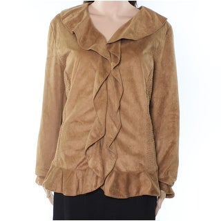 Jones New York NEW Brown Womens 18W Plus Faux-Suede Smocked Jacket