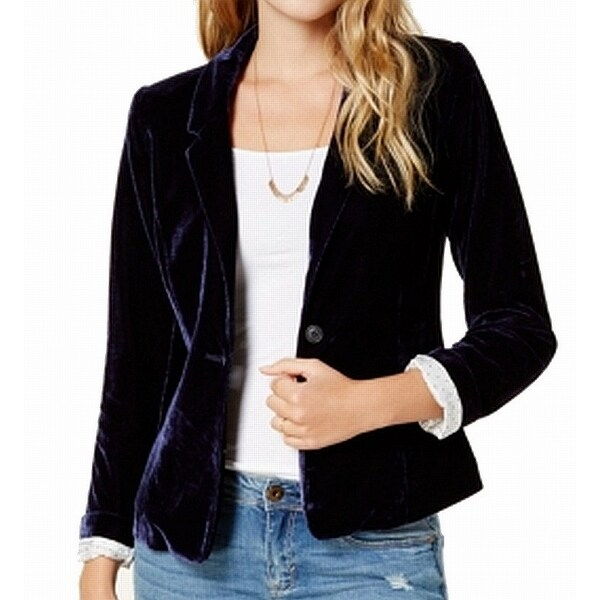dea561f53b3 Shop Kensie NEW Navy Blue Women s Size XS Velvet Classic Blazer Jacket -  Free Shipping On Orders Over  45 - Overstock - 21615388
