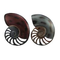 Set of 2 Decorative Metal Nautilus Shell Wall Hangings 13 inch - Multicolored