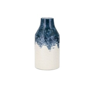 Small Size Ceramic Vase, Beige and Blue
