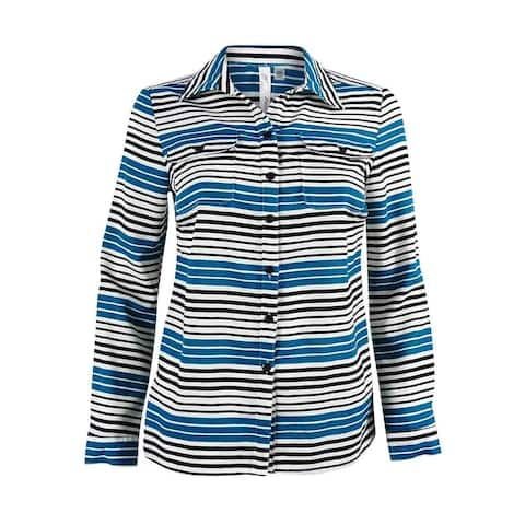 NY Collection Women's Striped Utility Shirt
