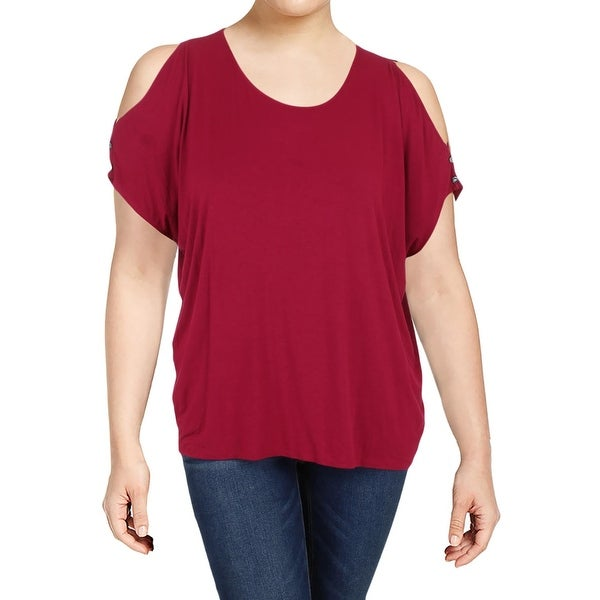 087dd8390e4f9f Shop Lauren Ralph Lauren Womens T-Shirt Jersey Cold-Shoulder - On Sale -  Free Shipping On Orders Over  45 - Overstock - 23161674