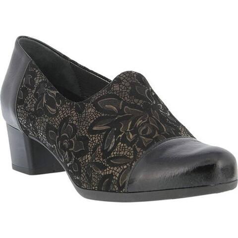 Spring Step Women's Evlynnette Pump Black Patent Multi Leather/Textile