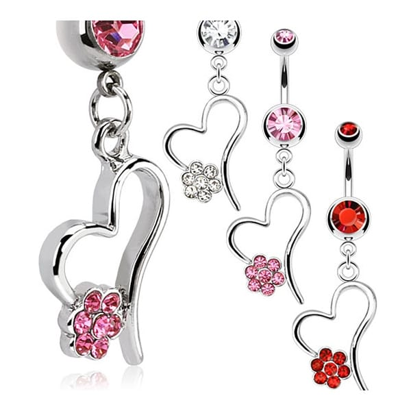Hollow Heart with Multi CZ Paved Flower Dangle Navel Belly Button Ring 316L Surgical Steel