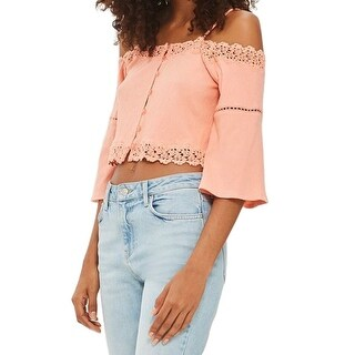 TopShop Women's Cropped Floral Crochet Knit Top