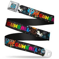 Gumball Face Close Up Black Full Color Gumball & Darwin Poses In Space Seatbelt Belt