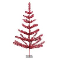 3' Red Tinsel Pine Artificial Christmas Twig Tree - Unlit