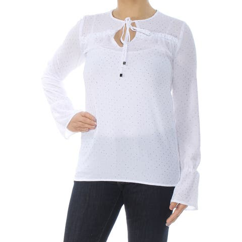 233ae64209619f MICHAEL KORS Womens White Printed Ruffle Long Sleeve Blouse Top Size: 2XS