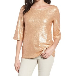 Halogen Rose Gold Womens Size Medium M Tie-Back Sequin Blouse