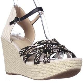 Lucky Brand Mahima Espadrille Wedge Ankle Strap Sandals, Black Multi/Friendship Bracelet