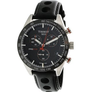 Tissot Men's T100.417.16.051.00 Silver Leather Swiss Quartz Diving Watch