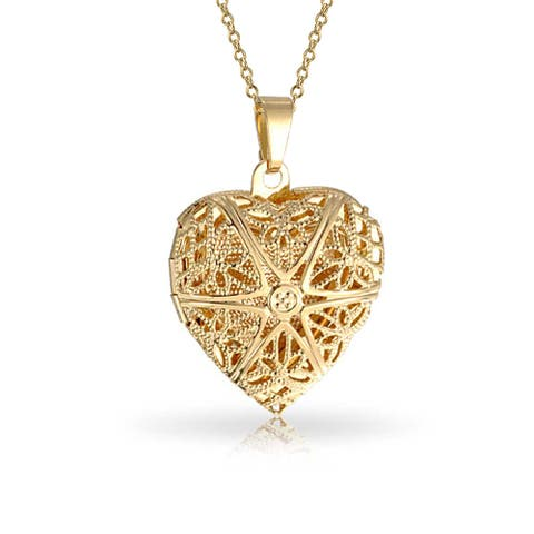Vintage Star Heart Scented Oil Perfume Diffuser Locket 18K Gold Plate