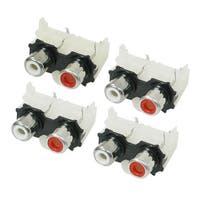 Unique Bargains 4 pcs Audio Video AC Concentric RCA Socket 2 Female Jack Connector Black White