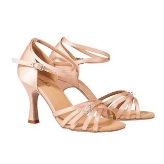 Sansha Adult Light Tan Satin Buckle Accent Adriana Ballroom Shoes Womens