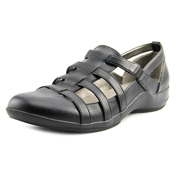 Life Stride Maintain Women Round Toe Leather Black Walking Shoe