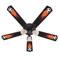 Cool Flaming Soccer Balls Print Blades 52in Ceiling Fan Light Kit - Multi