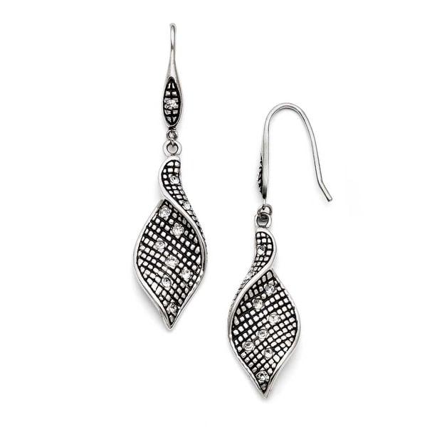 Chisel Stainless Steel Crystal Antiqued Shepherd Hook Dangle Earrings