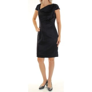 Womens Navy Cap Sleeve Above The Knee Sheath Party Dress Size: 5