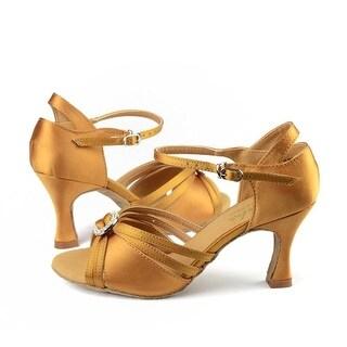 Sansha Adult Tan Satin Upper Heeled Margarite Ballroom Shoes Womens