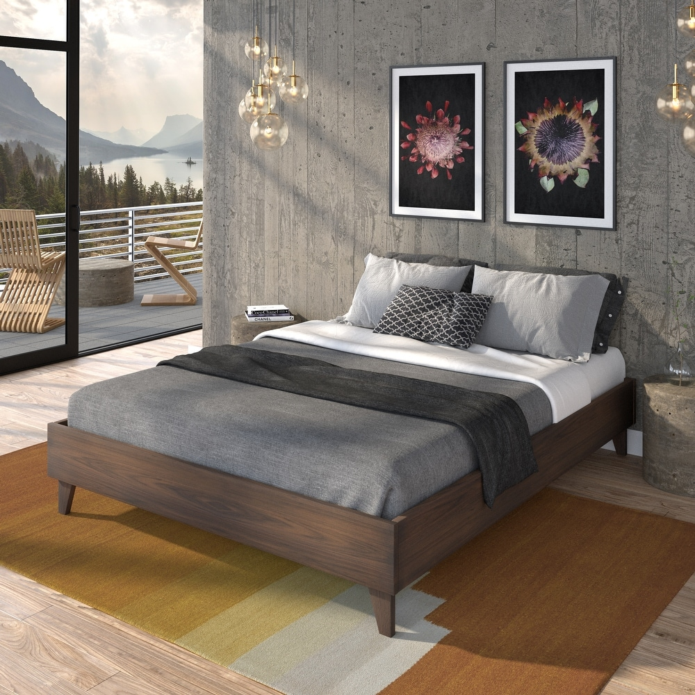 Kotter Home Solid Wood Mid-century Platform Bed (Twin, Walnut)
