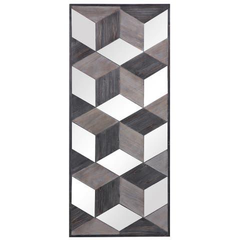 """Uttermost 04235 Ambie 48"""" x 21"""" Wood Framed Fir 3-D Cube Design - Gray"""