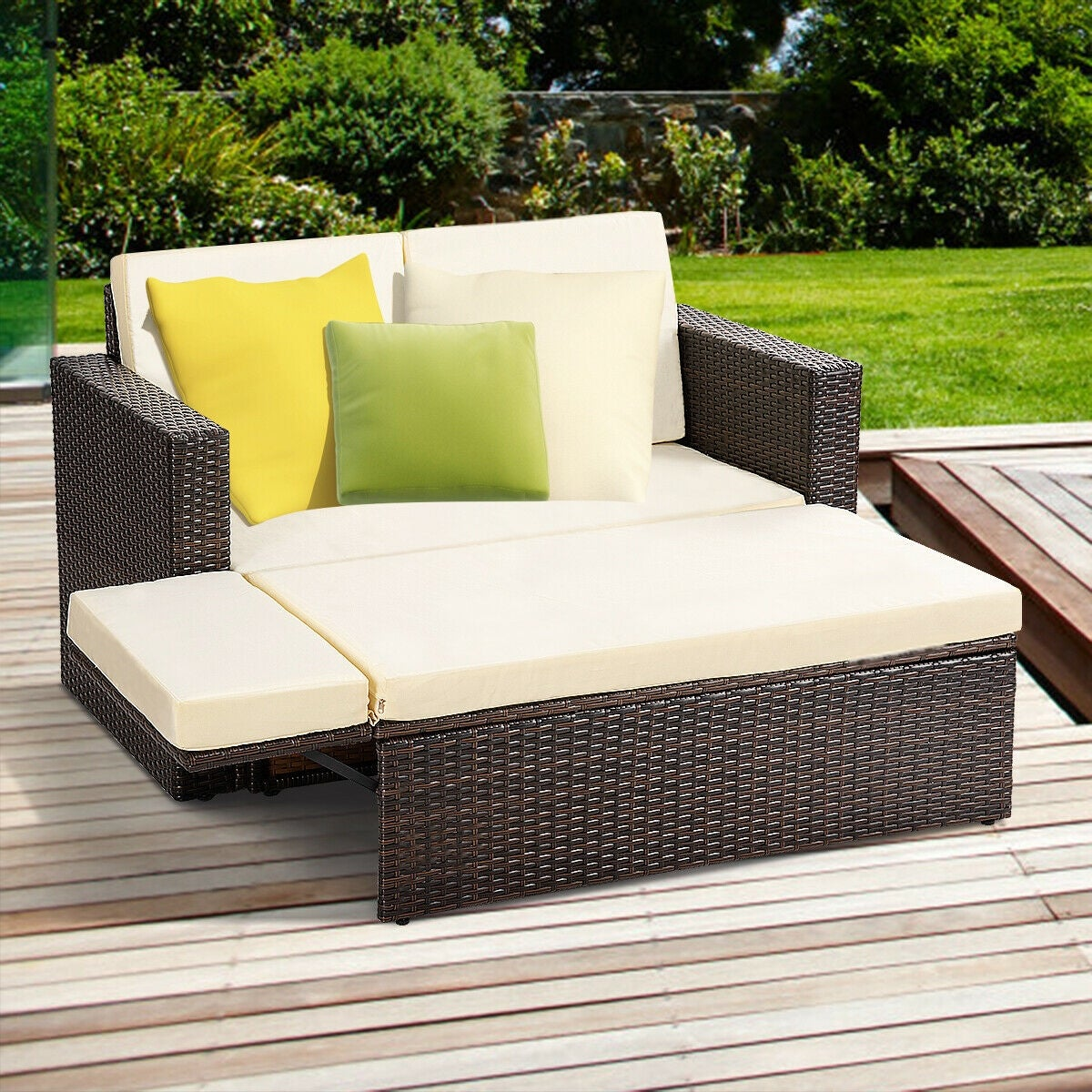 Wondrous Gymax 2Pcs Patio Rattan Loveseat Sofa Ottoman Daybed Garden Furniture Set W Cushions Creativecarmelina Interior Chair Design Creativecarmelinacom