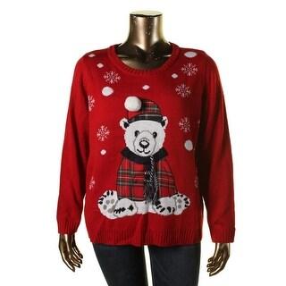 Karen Scott Womens Plus Graphic V-Neck Pullover Sweater