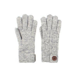 Mens Cable Knit Winter Gloves Wooden Button Lined (Option: Blue)