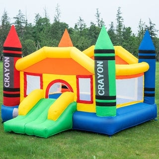 Costway Inflatable Crayon Bounce House Castle Jumper Moonwalk Bouncer without Blower - as pic