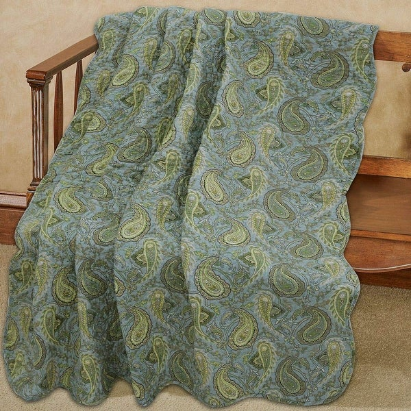 Cozy Line Rosales Paisley Reversible Cotton Throw Blanket. Opens flyout.