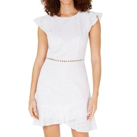 City Studio Junior's Dress White Size 0 Sheath Eyelet Flutter Sleeve