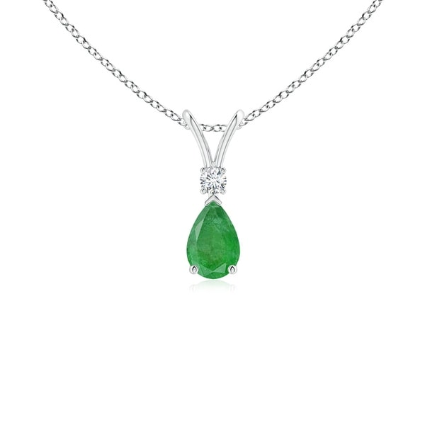 Angara 6x4 mm Pear Emerald Teardrop Pendant Necklace with Diamond - White