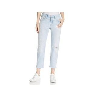 Levi's Womens 501 Tapered Leg Jeans Distressed Mid-Rise
