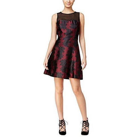 Kensie Womens Mesh Inset Embroidered Cocktail Dress Red L - Wildberry Combo - Large