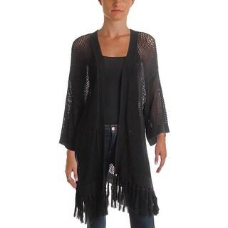 LRL Lauren Jeans Co. Womens Cardigan Sweater Open Stitch Fringe