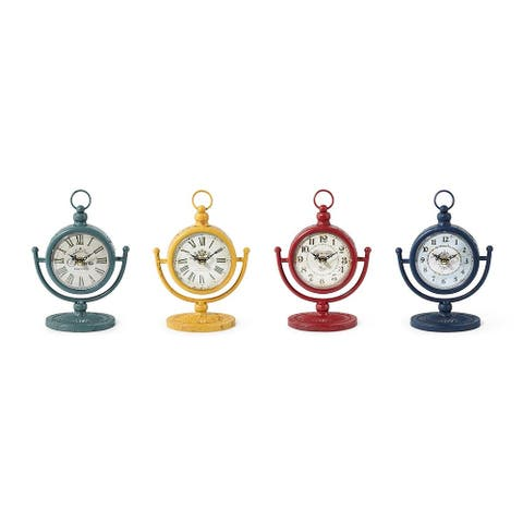Set of 4 Yellow and Red Analog Style Tabletop Clocks 9.5""
