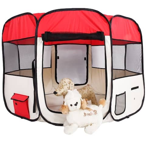 """36"""" Portable Foldable 600D Oxford Cloth & Mesh Pet Playpen Fence with Eight Panels"""