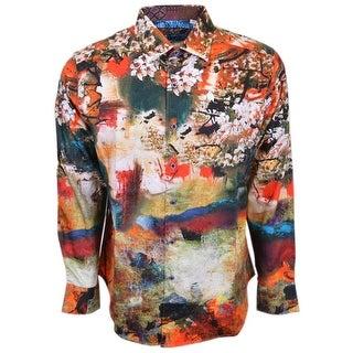 Robert Graham Denton Abstract Floral Button Down Sports Dress Shirt M