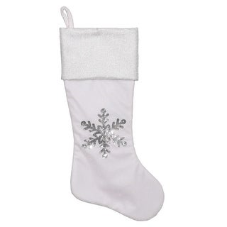 "20"" White Velvet Christmas Stocking with Silver Metallic Cuff and Silver Sequined Snowflake Design"