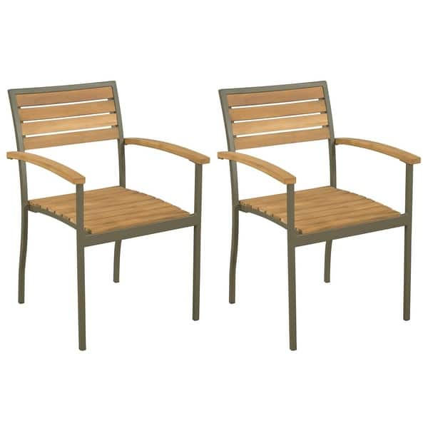 Magnificent Shop Vidaxl Stackable Outdoor Chairs 2 Pcs Solid Acacia Wood Inzonedesignstudio Interior Chair Design Inzonedesignstudiocom