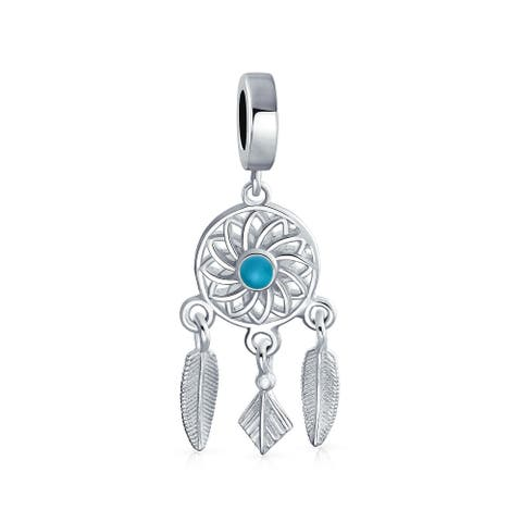 Dream Catcher of Hopes Blue Center Dangle Charm Bead Sterling Silver - 25.85